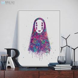 2019 lona de pintura abstrata da cara Original Aquarela Sem Rosto Japonês Hayao Miyazaki Anime Art Print Poster Pintura Abstrata Da Lona Imagem de Parede Crianças Room Decor lona de pintura abstrata da cara barato