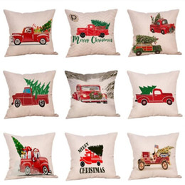 trees decor Promo Codes - Merry Christmas Jubilation Pillow Case Tree Car Pattern Digital Printing Cushion Cover Cartoon Ornament Home Decor Pillowslip