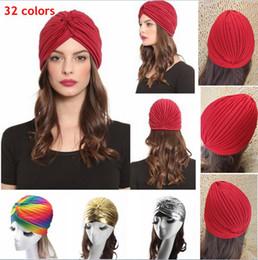 Wholesale Femmes Unisexe Style Indien Extensible Turban Chapeau Cheveux Wrap Cap Headwrap Cloche Bonnet Arabian Bandanas AAA853
