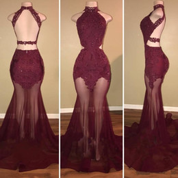 Wholesale Draped Halter Top - See Through Tulle Skirt Backless Prom Dresses Burgundy Lace Beaded Top Halter Cutaway Sides Long 2017 Arabic Ruffles Mermaid Evening Gowns
