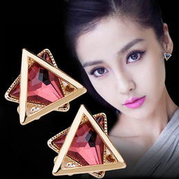 Wholesale Fine Numbers - Hot Fashion 925 sterling silver ear pin Vintage Long triangle Earring Big Geometric Stud Earrings For Women Classic Gold-Color Fine Jewelry