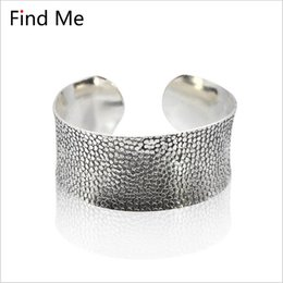 Wholesale jewelry findings for bracelets - Find Me 2018 fashion Vintage ethnic silver color Cuff Bracelet boho Carved flower Wide mouth bracelets bangle for women Jewelry