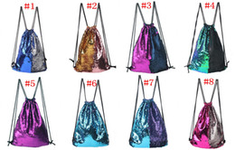 Wholesale reversible fabric - Mermaid Backpacks Sequins Drawstring Bags Reversible Paillette Outdoor Travel Bag Glitter Sports Shoulder Women School Bags Free Shipping