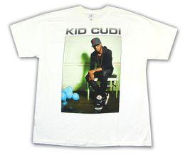 Xl воздушные шары онлайн-Kid Cudi Blue Balloons Pic Image Белая футболка New Official Merch Новая мода Мужская футболка с коротким рукавом Хлопковые футболки