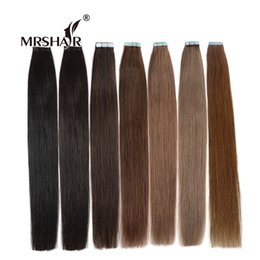 "Wholesale Medium Brown Skin - MRSHAIR Tape Hair Extensions 20pcs Skin Weft Hair Extensions Straight 16"" 18"" 20"" 22"" 24"" Adhesive Seamless Hair Black Brown"