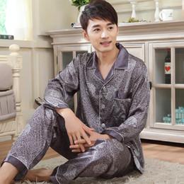 6b67e25b09 Mens Silk Pajamas Long sleeves Satin Pyjamas Cardigans Sleepwear Luxury Men  Sleep Pajama Sets 3XL