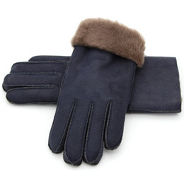 19f2ec0522068 classic leather gloves Australia - women real sheep leather one fur glove  winter warm free shipping