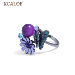 Wholesale cubic stone jewellery - KCALOE Purple Drip Butterfly Flower Rings For Women Round Ball Stone Cubic Zirconia Ring Black Gun Plated Jewellery Bagues