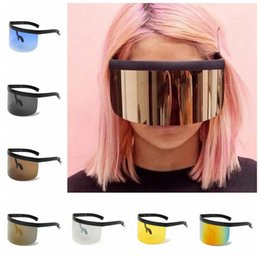 Wholesale Face Shapes Glasses - Oversized Mask Shape Shield Style Sunglasses Cool Street Snap Sun Glasses Cover Face Sunglasses Goggles 9 Colors OOA4671
