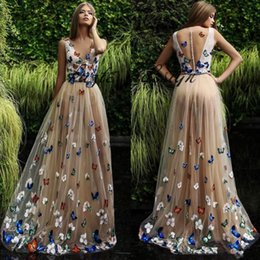 Wholesale Green Butterfly Pictures - Butterfly And Flower Prom Dresses 2018 Sheer Neck Sleeveless Long Evening Gowns Back Covered Buttons Arabic Formal Party Dress Custom Made