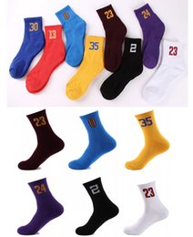 Wholesale Socks Teen - Best Quality Cotton Athletic Teen Team Number Sports Baseball Football Crew Socks Warmers Men's Basketball Numbers Socks Free DHL G500S