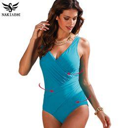 bac763fb29320 Nakiaeoi 2018 New One Piece Swimsuit Women Plus Size Swimwear Retro Vintage  Bathing Suits Beachwear Print Swim Wear Monokini 4xl