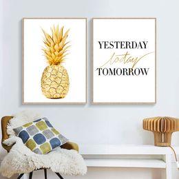 2019 quadros de cartaz a4 Modern Simples Preto Branco ou amarelo Abacaxi A4 Poster Nórdico Sala Mural Pintura Decorativa Pintura Da Lona Sem Moldura desconto quadros de cartaz a4