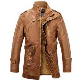 Wholesale vintage leather trench - New Arrival Motorcycle Leather Jacket Men Winter Thick Warm Vintage PU Leather Jackets Mens Trench Coat