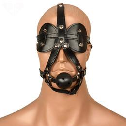 Wholesale leather blindfolds - Fetish Leather Blindfolded Hood Mask Sexy Bondage Restraints Erotic Head Harness Eyeshade Ball Gag Slave Mask Sex Toys For Cuple