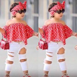 3pcs traje de niñas ropa verano bebé Off Shoulder Tops + Jeans + diadema ropa conjunto bata para 2 3 4 5 6 7 años BB430 desde fabricantes