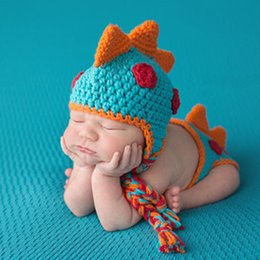 crochet dinosaur cap Promo Codes - Baby Cap Crocheted Baby Hat Boy Dinosaur Outfit New Born Photography Props Handmade Knitted Photo Prop Infant Accessories