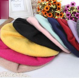 Wholesale Black Berets Wool - Children hat spring girls soft wool blends beret 2018 new kid candy colors ruffle beanie children accessories fashion girls bonnet R2637