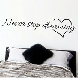 Wholesale Inspirational Quotes Wall Stickers - Never stop dreaming inspirational quotes wall art bedroom decorative stickers 8567. diy home decals mural art poster vinyl paper