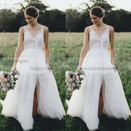 Wholesale Sexy Western Tops - Sexy side slit boho Lace backless beach Wedding Gowns lace illusion top Bridal Dresses Western Vintage Lace V neck A Line Wedding Dresses
