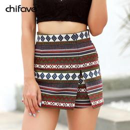 Wholesale folk skirt - 2018 chifave Female Boho Vintage Folk Geometric Printed Mini Shorts Skirts Women 2018 Ladies Basic Shorts Skirts Casual Printed
