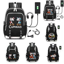 Cuphead Backpack USB Charging Port Kids Boys Schoolbag Men Mochila Laptop Bags