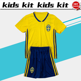 Wholesale national children - 2018 world cup Sweden National Team soccer Jersey Kids Kit 2018 Sweden home Soccer Jerseys Sverige Child Soccer Shirts uniform jersey+shorts