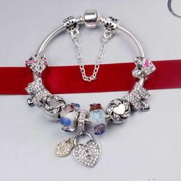 2019 bracelets de la fête des mères Bracelet à breloques en argent 925 Pandor LOVE coeur pendentif bracelet breloques perles Bracelet mère pour la fête des mères diy bijoux logo original bracelets de la fête des mères pas cher