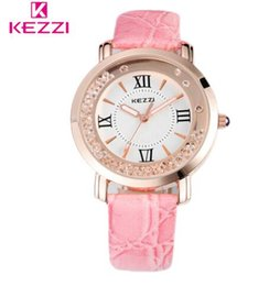 Wholesale ladies rose gold chronograph watch - KEZZI Brand Fashion Watch Women Rhinestone Quartz Wristwatch Ladies Leather Band Luxury Watches 6 colors Rose Gold Relogio