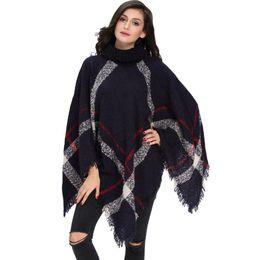 Оптовая 2018 плюс размер зима теплая женская шерсть водолазка без рукавов пуловеры плед вязать свитер пончо cheap wholesale women pullover sweaters от Поставщики оптовые свитера женщин свитера
