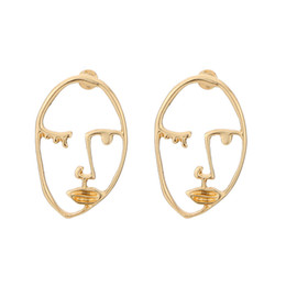 Wholesale Gold Skull Studs - Gold Color Popular Geometric Face Ethnic Earrings Skull Head Earrings Face Ear Studs For Women Cool Party Accessories Gift D452L