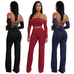 Nuevo estilo de moda monos de manga larga mujer camisa de verano Sexy Tie pantalones de dos piezas de las mujeres 6 colores de la venta caliente de la señora ropa vestidos ajustados desde fabricantes