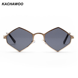 3016605727 Kachawoo wholesale 6pcs rhombus sunglasses men metal frame purple red  vintage retro sun glasses for women summer 2018 UV400
