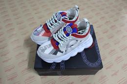 2019 caixas de link Atacado Mais Recente Dos Homens Marca de Luxo sapatos de grife Sapatos de Reação Em Cadeia Womens Trainer Sapatos Casuais Sola de Borracha Chain-linked com caixa desconto caixas de link