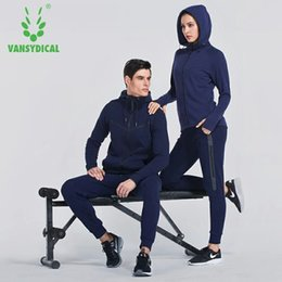 Wholesale Womens Xxl Clothing - Vansydical Winter Sports Suits Mens Womens Sportswear Fitness Running Jackets Pants Sets Breathable Hooded Training Clothes