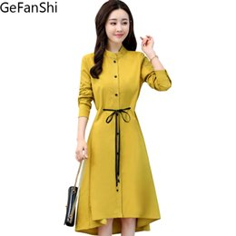 Wholesale Office Work Dress Styles - 2018 New Spring Autumn Fashion Women Dresses Blouse Style Dress Plus Size Long Sleeve Stand Collar Slim Waist Office Work Lady