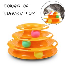 Wholesale Disk Ball - Cat Kitty Tower of Tracks Toy Interactive Three Levers Pet Toy Amusement Plate Crazy Ball Disk Cat Scratching Ball Toy