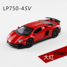 cars model lighting Promo Codes - Luxury Cars LP750-4SV Alloy Static Model 1:32 Metal Sports Car Supercar Pull Back Light Sound Kids Toys Gift