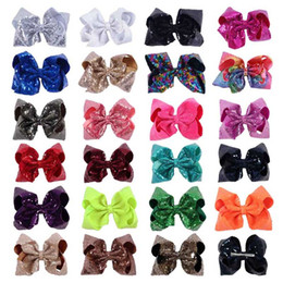 Wholesale Big Sequins - 8 Inch Large Sequin Hair Bow On Clip Sparkly Big Kid Hair Clip For Dancing Party