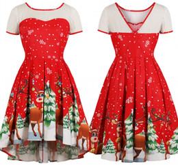 robes de femmes rouge noël Promotion Rouge Rétro Haut Bas Robes De Fête 2018  Une Ligne 99a5631aed2