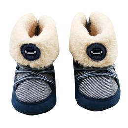 Искусственный мех новорожденный онлайн-Новорожденных мальчиков Prewalker мягкий снег сапоги искусственный мех шнуровке сапоги снег детская кроватка обувь 0-18 м