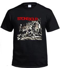Vestiti in pietra nera online-Maglietta Stone Sour Rock T-shirt Uomo Nero taglia S-3XL Marca Uomo Cotone Abbigliamento Uomo Slim Fit T Shirt