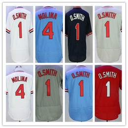 1a5cf32ffd0 Mens 1 Ozzie Smith Jersey Red Cheap 4 Yadier Molina Vintage Old Time  Flexbase Pullover Button White Grey Blue Red Cream Shirts Mix Order