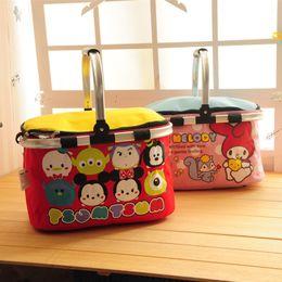2019 cajas de almuerzo aisladas rosadas Preciosa belleza Le Di bolsa de almuerzo de dibujos animados de aislamiento térmico cesta de picnic cesta de mano grande bolsa de hielo