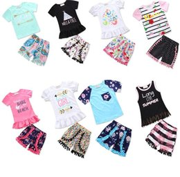 Wholesale floral outfits - 8colors Baby ruffle outfits girls letter top+Floral print shorts 2pcs set INS Boutique kids tassel Pompon Clothing Sets GGA415 12set