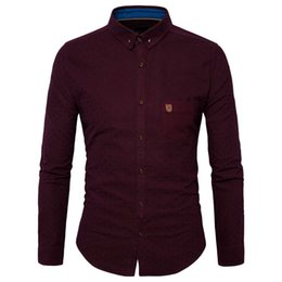Wholesale Polka Dot Wine - 2017 Fashion Dress Men Shirt Slim Fit Long Sleeve Male Social Casual Shirts Wedding Party Red Wine Red Men's Business Shirt Y952