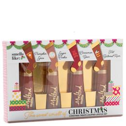 Рождественские угощения онлайн-2018 Рождественский подарок новое прибытие Марка макияж сладкий запах рождественские угощения сжиженный Listick набор 4 цветов расплавленный матовый блеск для губ комплект