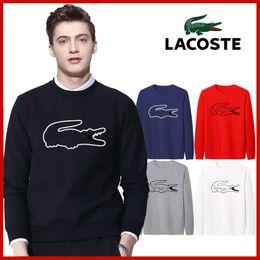 Nero hong kong online-Il nuovo acquisto di Hong Kong francese di coccodrillo nero rotondo maglione colletto in cotone stampato coppie manica lunga pacchetto
