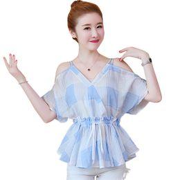 ca7caac1d1d5f Japanese Sweet Top Women 2018 Summer Sexy Off Shoulder V Neck Slim Waist  Cotton Blouses and Tops Blue Yellow Ruffle Plaid Shirt