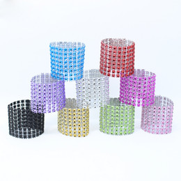 Wholesale Sashes Rings - 9 Colors Plastic Diamond Rhinestone Wedding Napkin Rings Chair Sashes Bows Holder Party Table Decoration